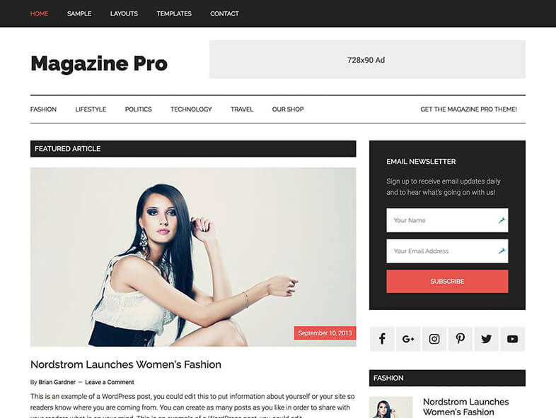 Magazine Pro WordPress Theme 2017