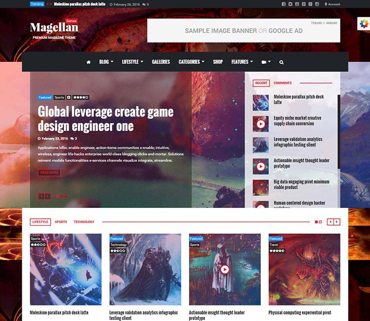 Magellan Responsive Gaming WordPress Theme