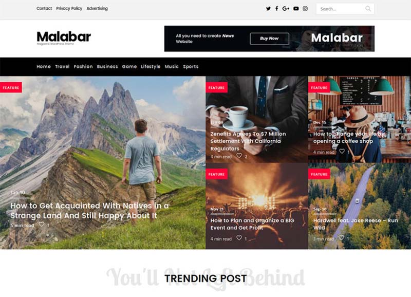 Malabar Best Responsive Gaming WordPress Theme