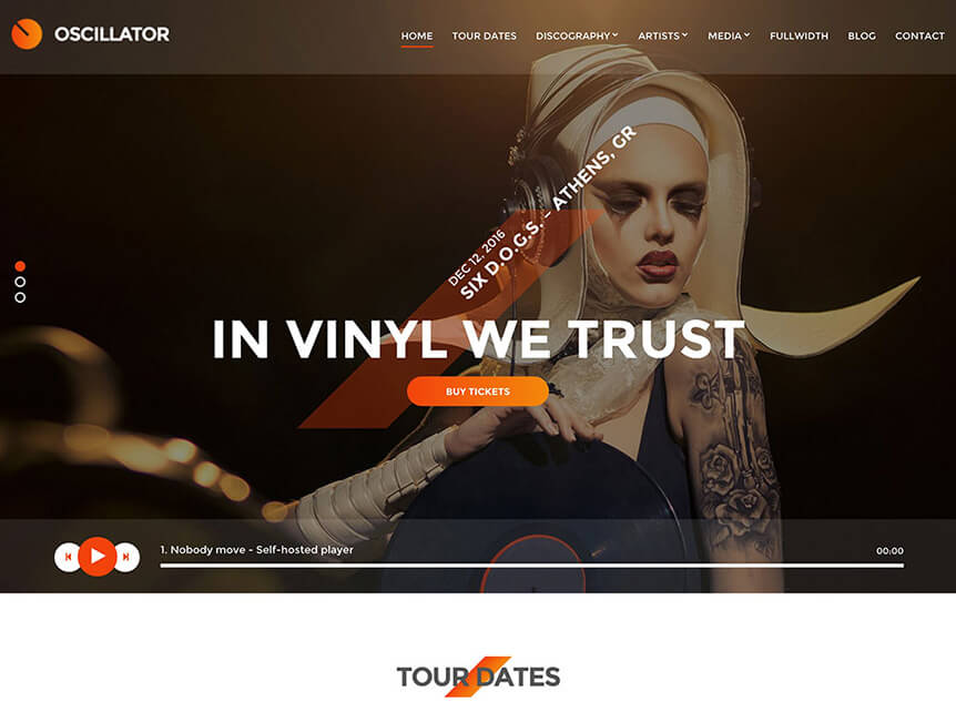 Oscillator Music WordPress Theme for Musicians & Bands
