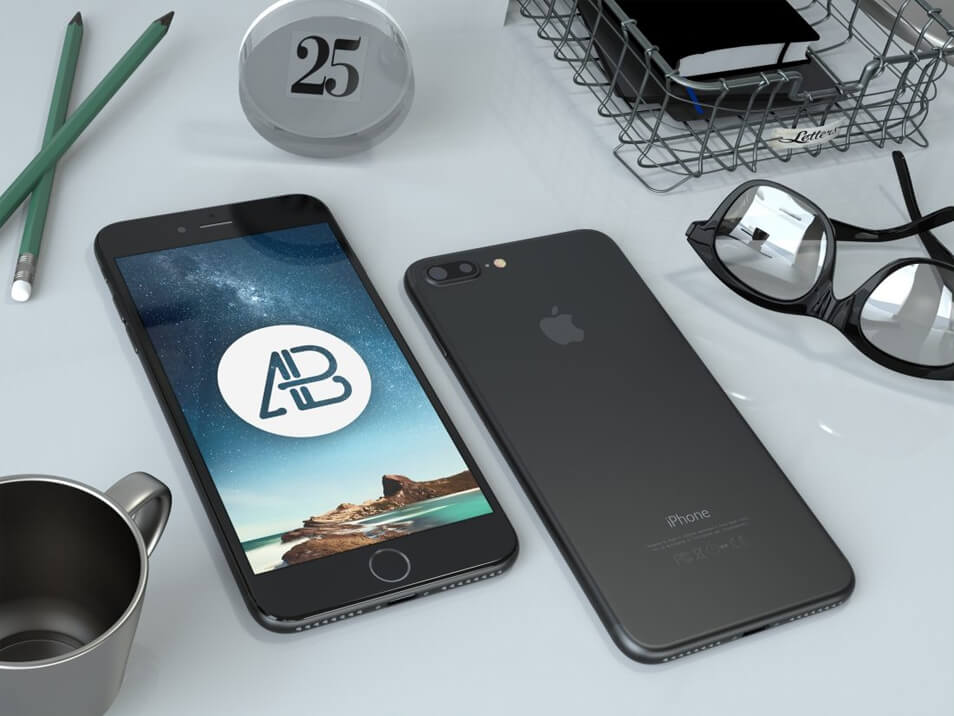 Realistic Black iPhone 7 Plus PSD Mockup