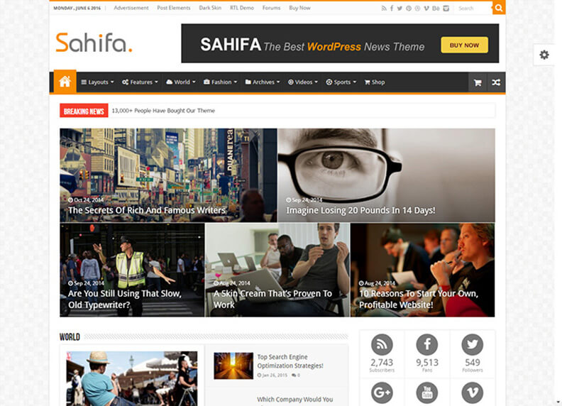 Sahifa Blog Magazine WordPress Theme