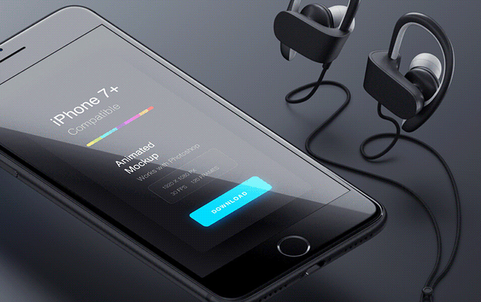 animated iPhone 7 Jet Black & 7 Plus PSD Mockup