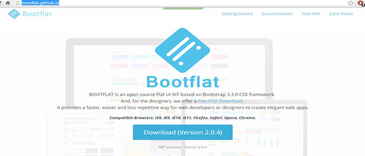 bootflat HTML5 and CSS3 Framework 2017