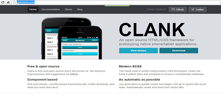 clank HTML5 and CSS3 Framework 2017