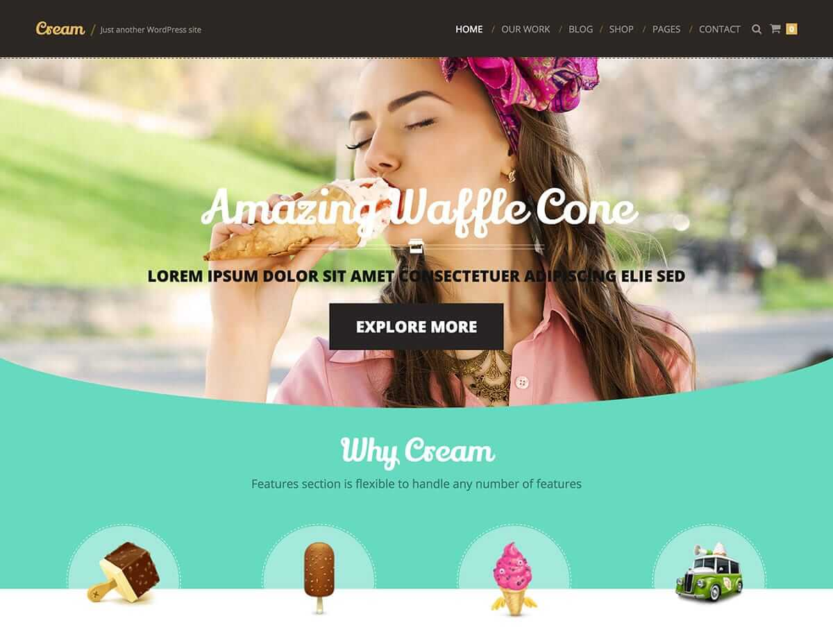 cream Cake Shop Bakeries & Coffee Shop WordPress Theme