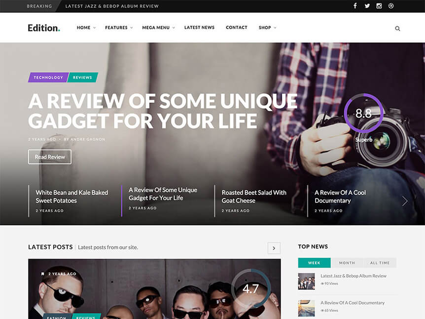 edition Best Review WordPress Theme for Product Review Website