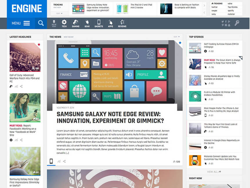 engine Best Review WordPress Theme for Product Review Website