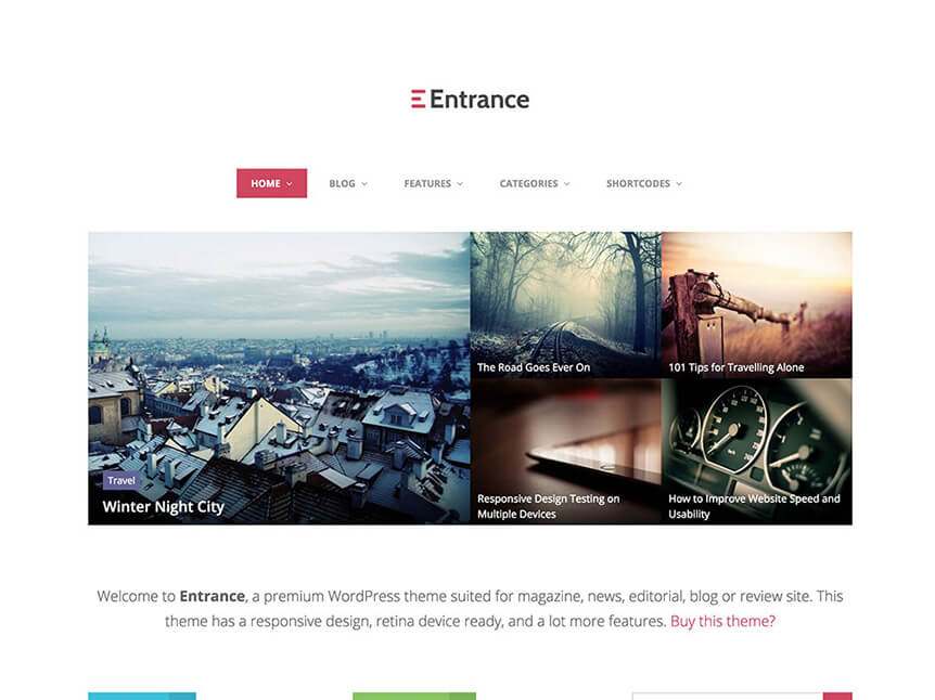 entrance Best Review WordPress Theme for Product Review Website