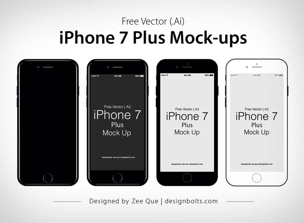 flat iPhone 7 Jet Black & 7 Plus PSD Mockup