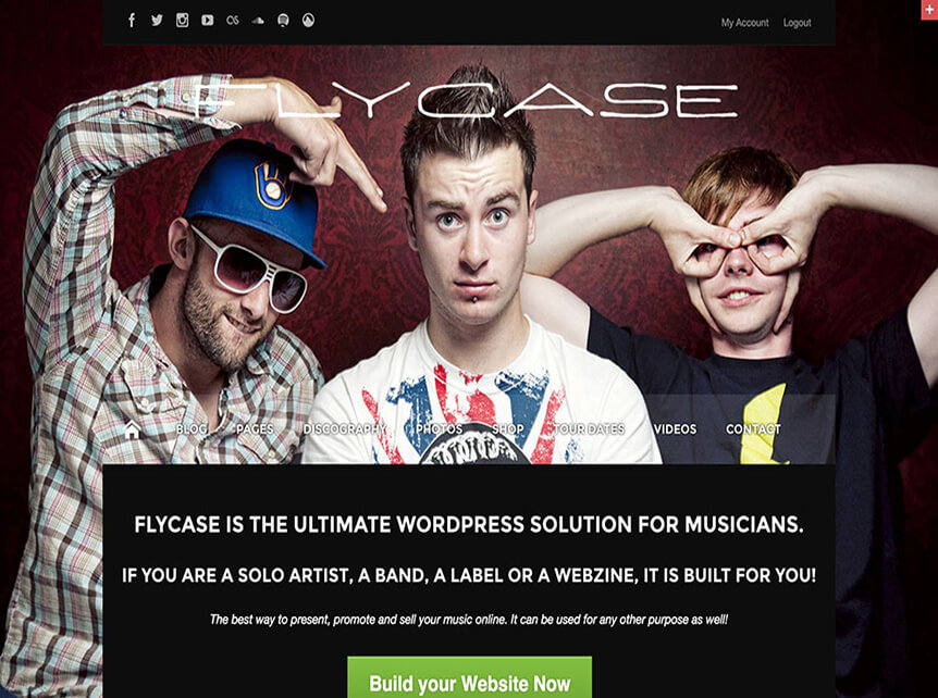 flycase theme for Musicians & Bands