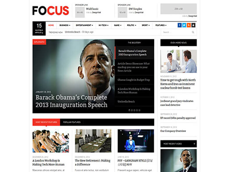 focus 80 Best Responsive Magazine WordPress