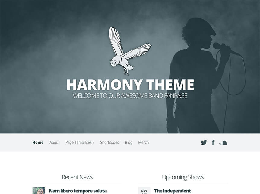 harmony theme for Musicians & Bands