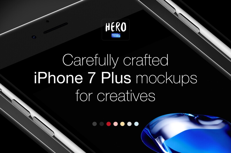 hero iPhone 7 Jet Black & 7 Plus PSD Mockup