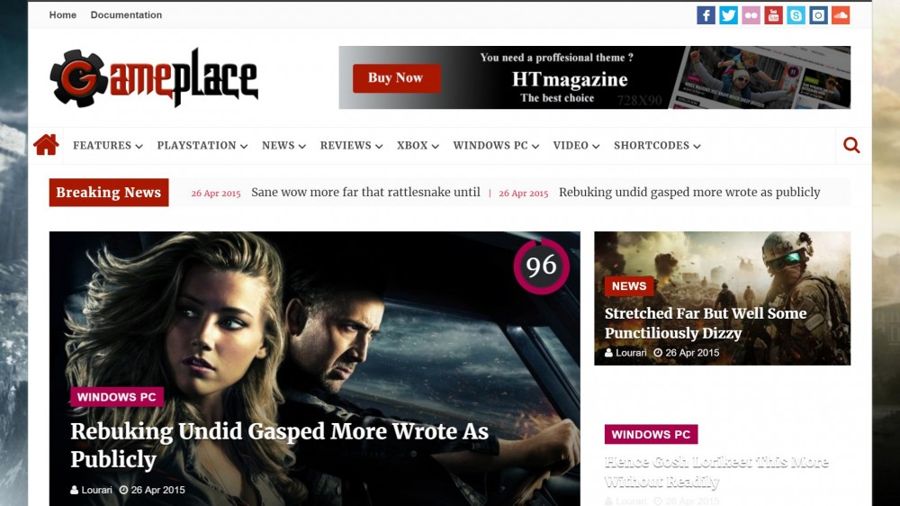 htmagazine Responsive Gaming WordPress Theme