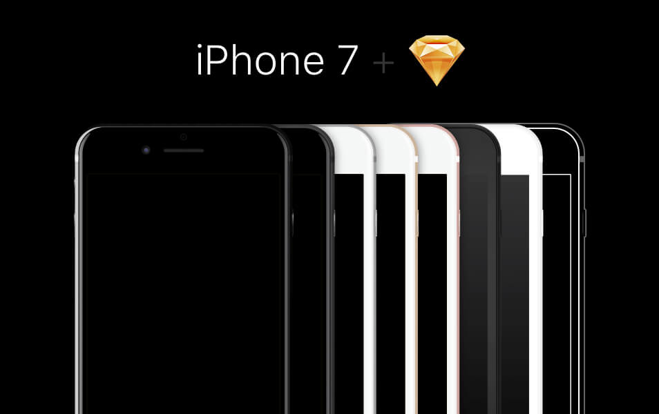 iPhone 7 Sketch Template Plus PSD Mockup