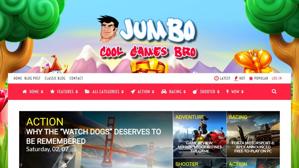 jumbo Responsive Gaming WordPress Theme