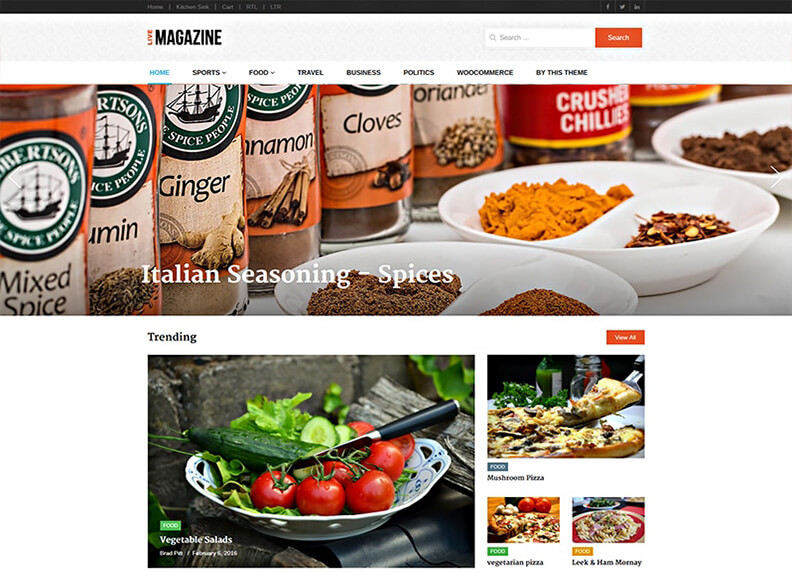live WordPress Theme 2017