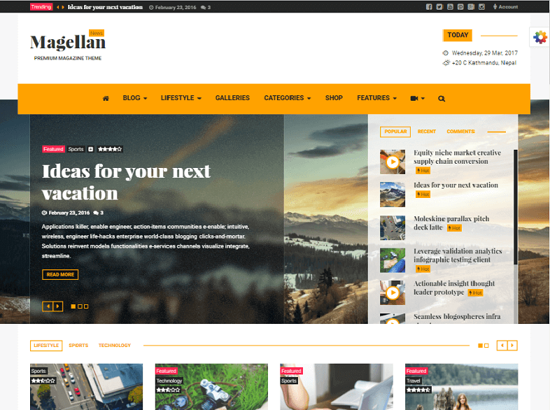 magellan WordPress Theme 2017
