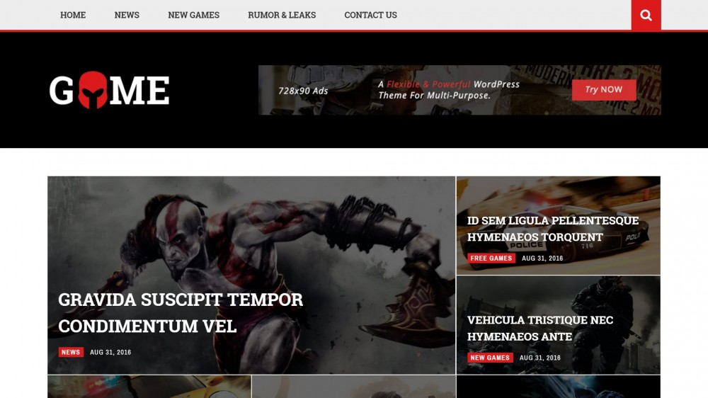 magneto Responsive Gaming WordPress Theme