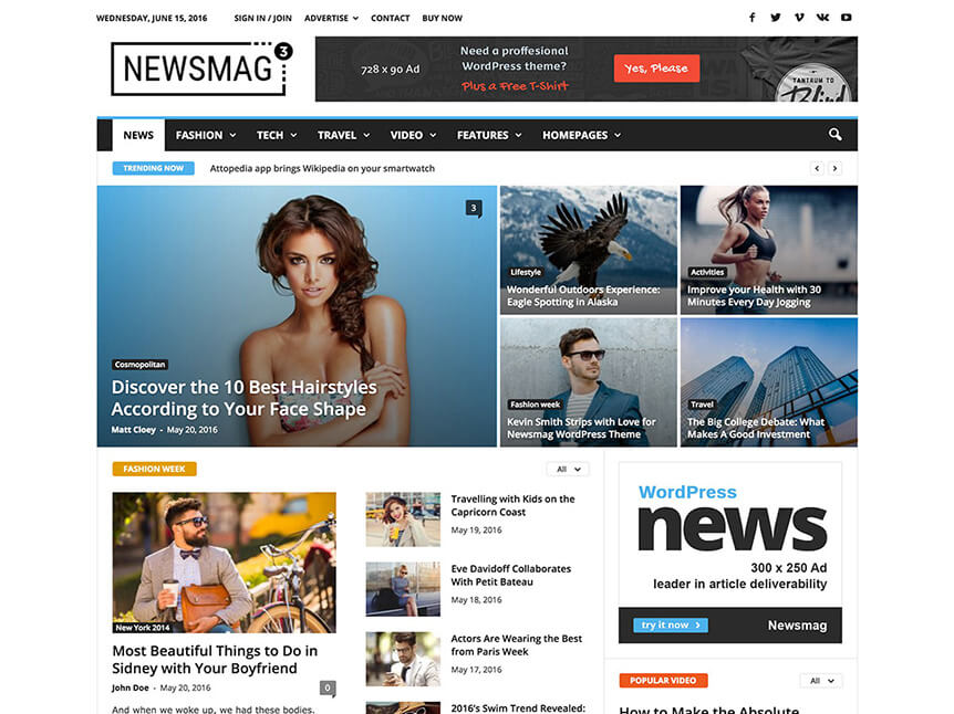 newsmag wp Theme for Product Review Website