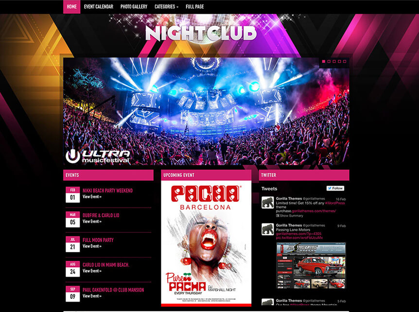 nightclub Music WordPress Theme for Musicians & Bands
