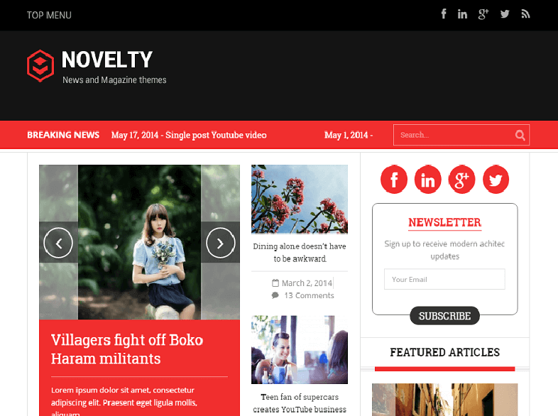 novelty Magazine WordPress
