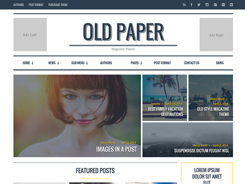 oldpaper review magazine theme