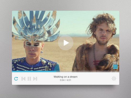player white Video Player UI PSD Template
