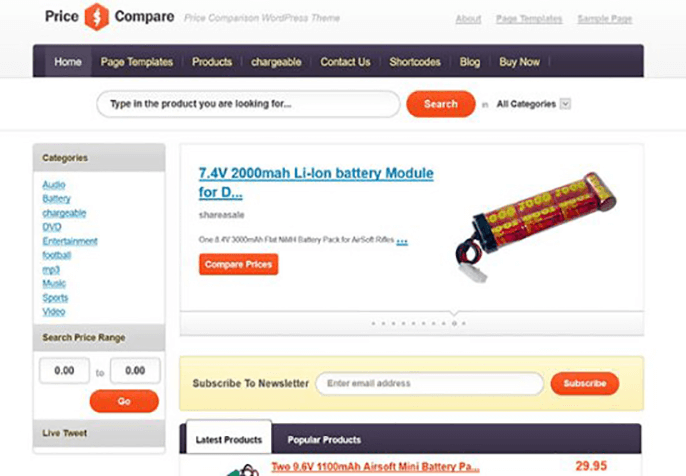 pricecompare Theme for Product Review