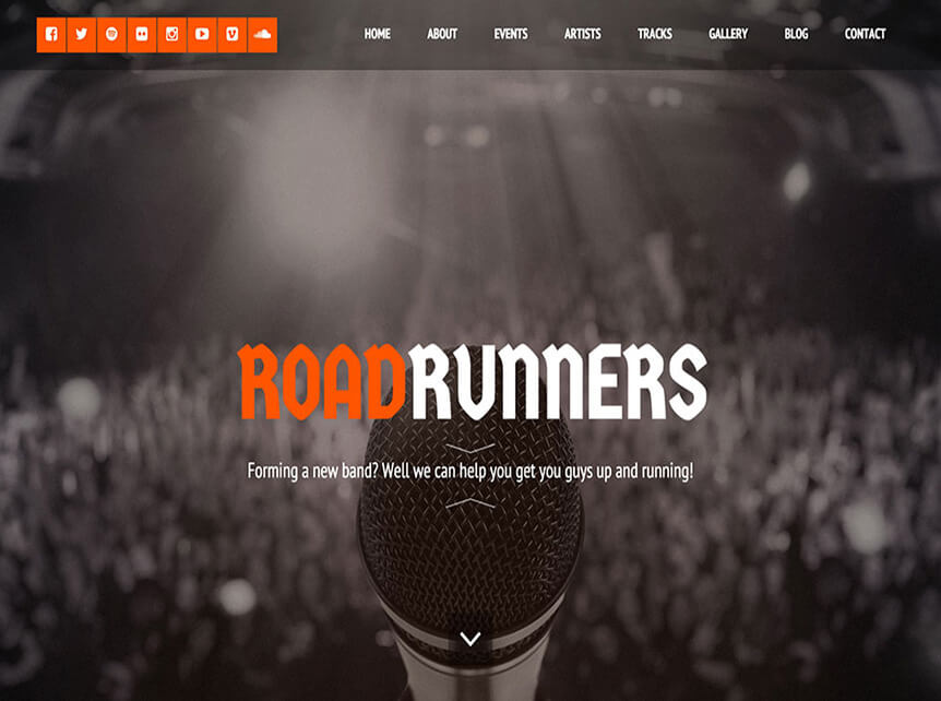 roadrunners Music WordPress Theme for Musicians & Bands