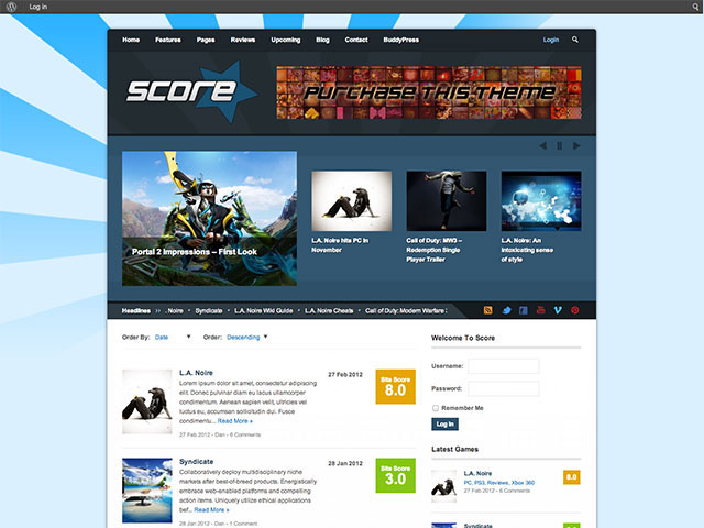 score Gaming WordPress