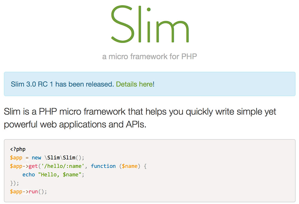 slim Framework For Web Developers