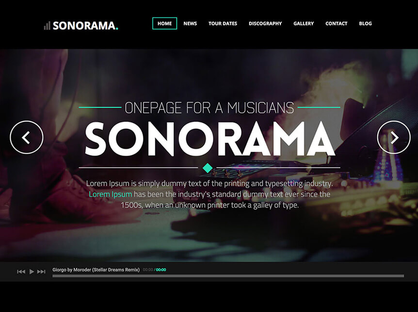 sonorama Theme for Musicians & Bands