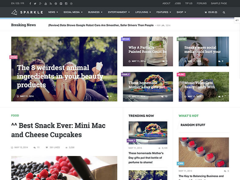 sparkle Best Responsive Magazine WordPress