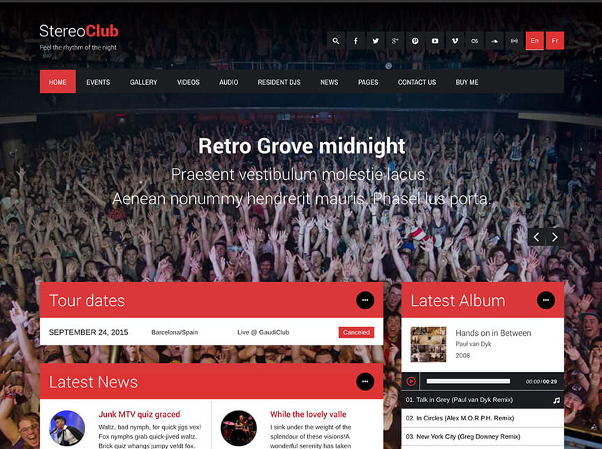 stereoclub WordPress Theme for Musicians