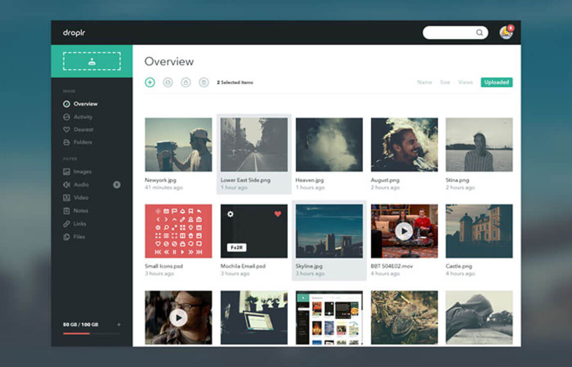 Droplr Creative Dashboard