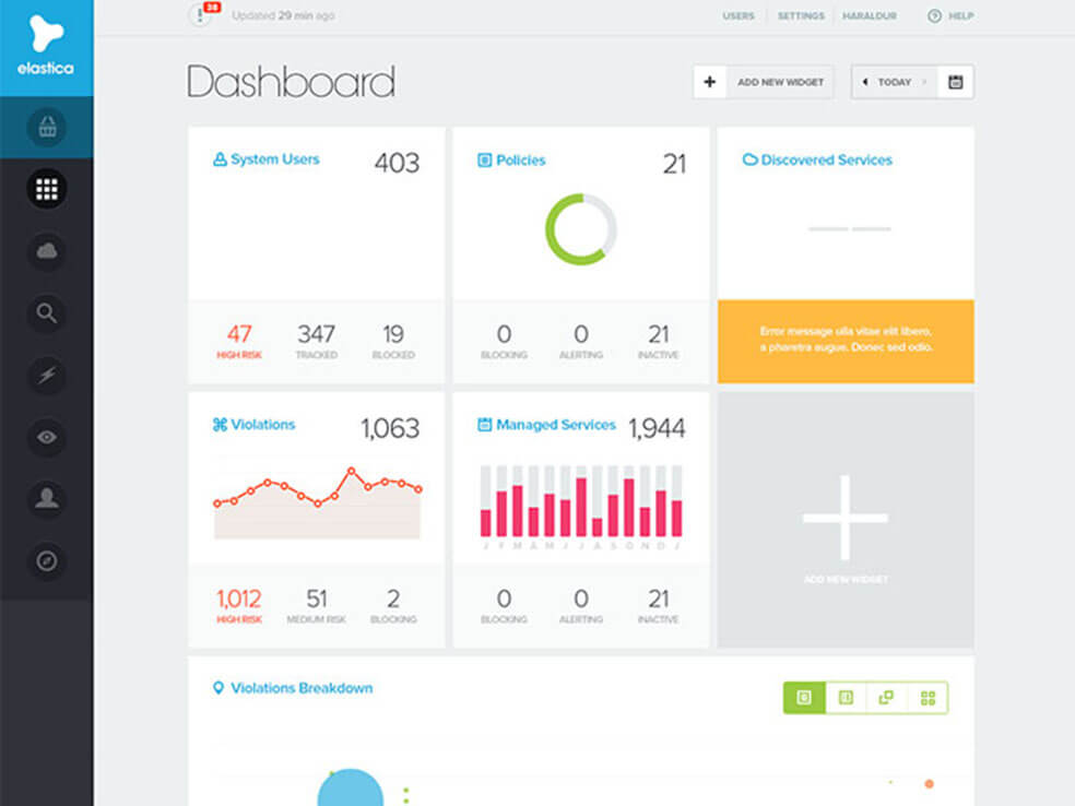Elastica Creative Dashboard Design