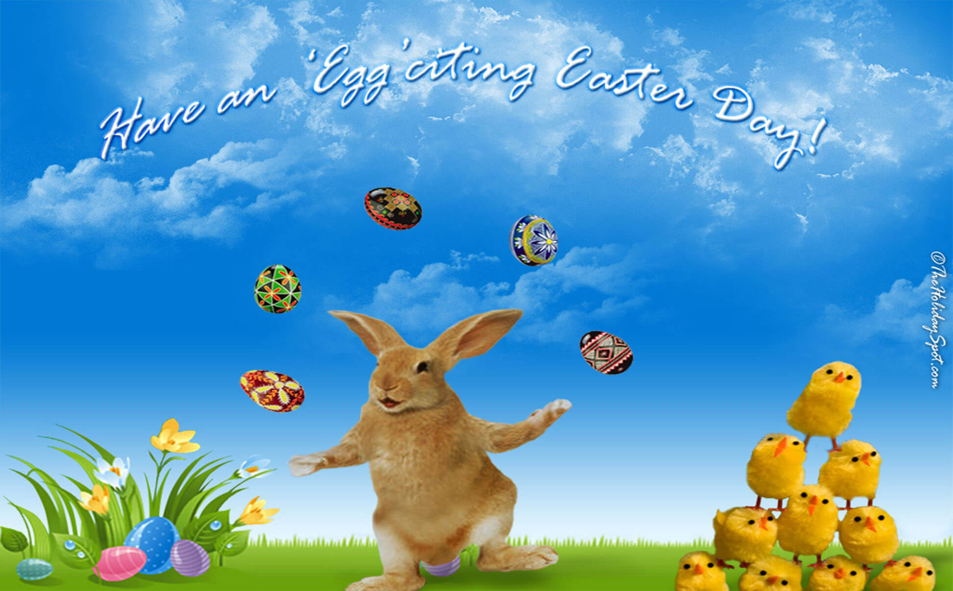 Playing Cute Easter Wallpaper