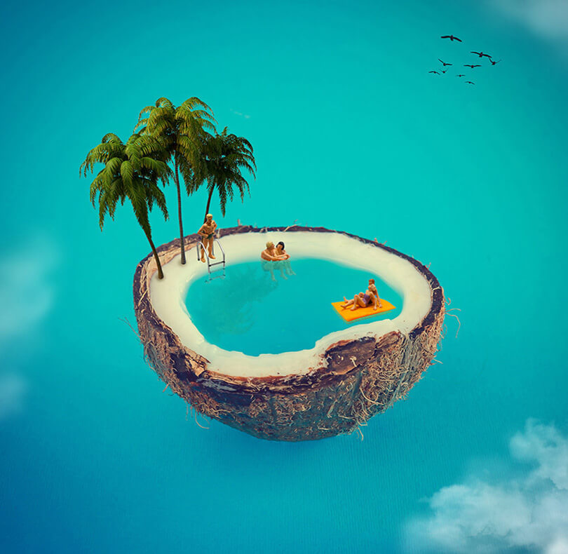 Cocunut Island Creative Photo