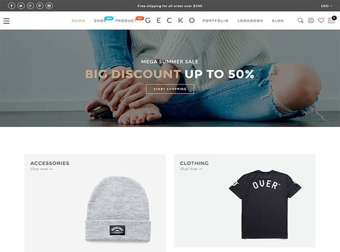 GECKO T Shirt Store WordPress