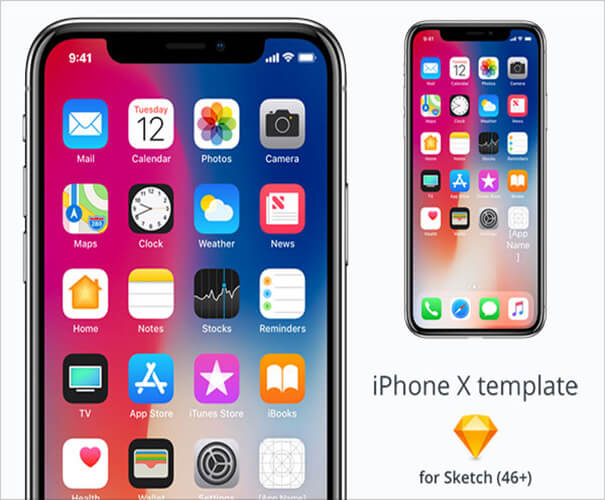 Template Sketch Free iPhone X Mockup
