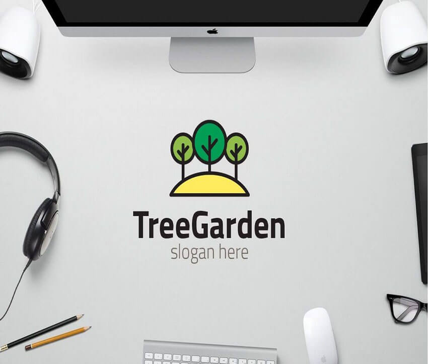 Tree Garden Logo Design Template