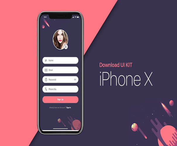 UI Kit Free iPhone X Mockup