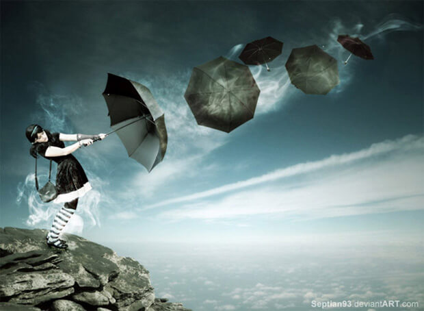 Umbrella Girl Photo Manipulation