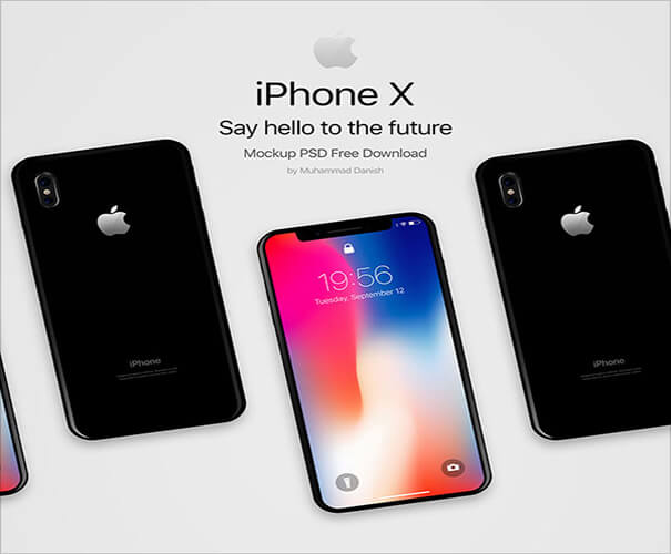 iPhone X Dark Mockup Template Download