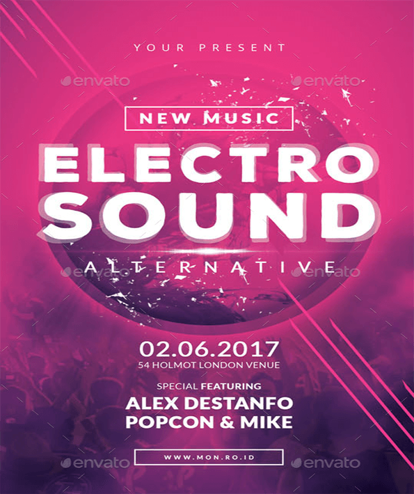 Electro Sound Beautiful Invitation Flyer