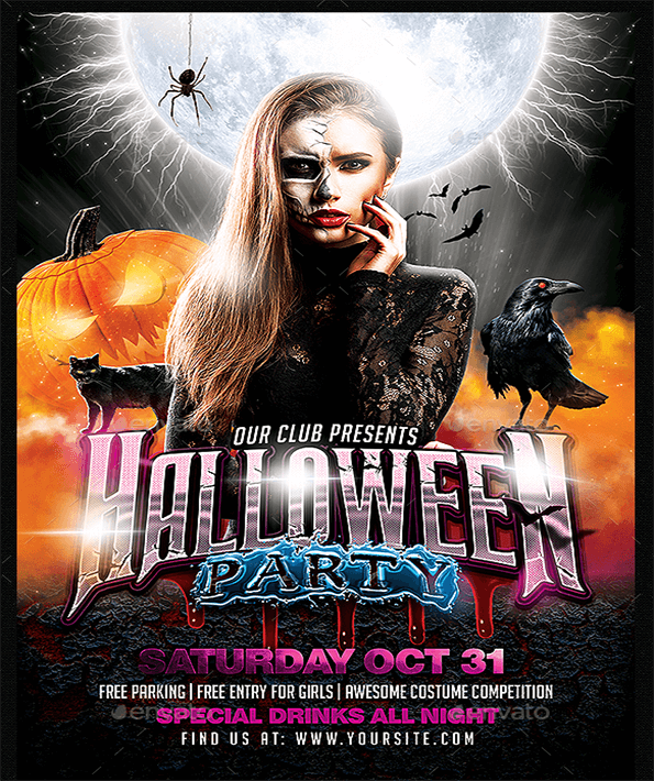 Halloween Party Beautiful Invitation Flyer