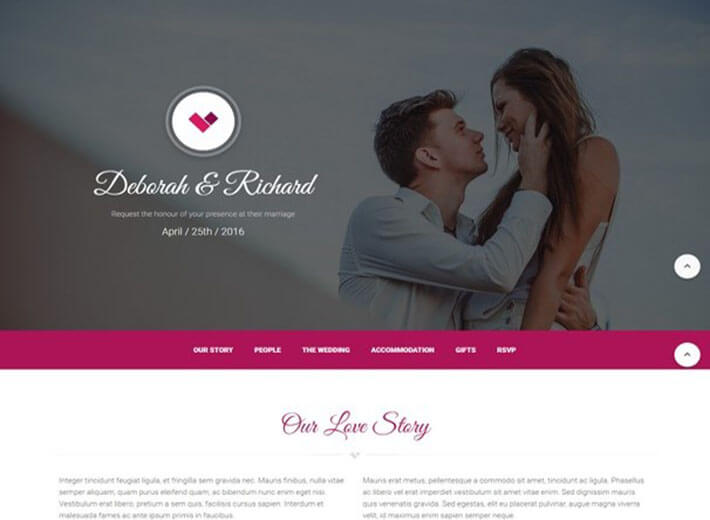Material Wedding Website Template