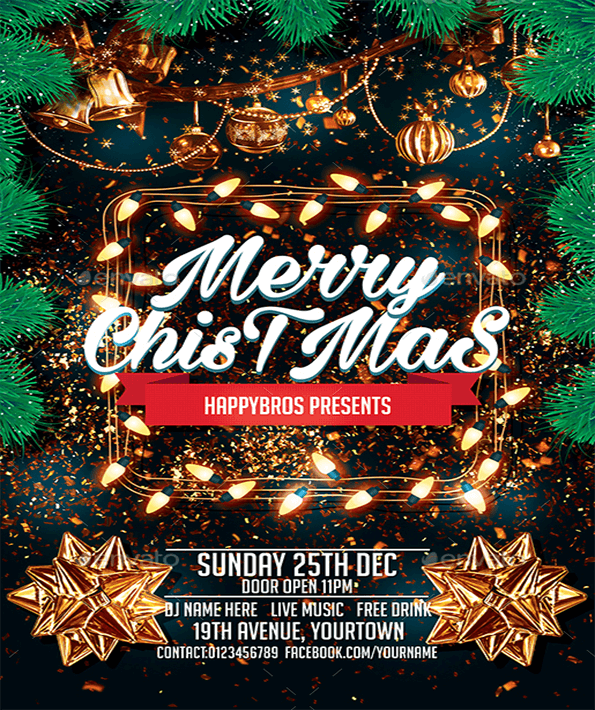 Merry Christmas Beautiful Invitation Flyer